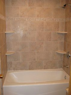 bathtub walls or do we rip out the tub and shelving unit and it all becomes a larger shower?