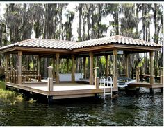 The Boathouse: a new definition to lakefront living! Gazebo On Deck, Pergola, Lake Landscaping, Floating Boat Docks, Dock House, Stone Porches, Lake Dock, Haus Am See, Water House