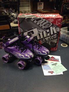 New Rock Purple Grey Flame Roller Skates Speed Freaks Size 8 Twister USA   eBay