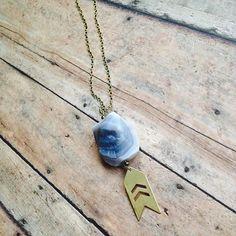 // shadow // raw grey #gemstone + brass arrow dangle on custom length brass chain #oveco #otravez #otravezecotique #ov_eco