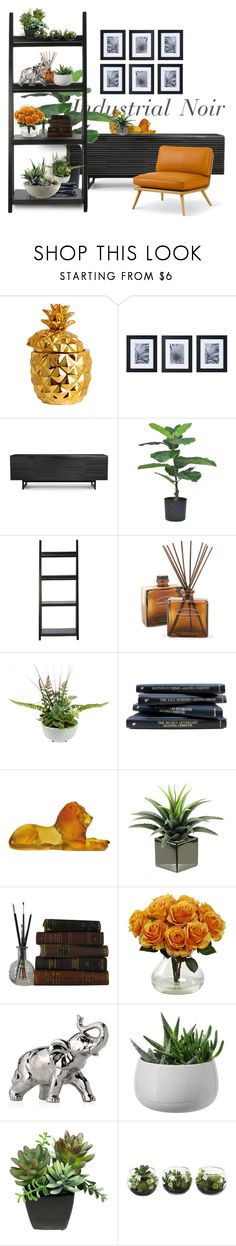 """""""Industrial Noir"""" by ayelmaoki ❤ liked on Polyvore featuring interior, interiors, interior design, home, home decor, interior decorating, H&M, Mikasa, BDI and Home Decorators Collection"""