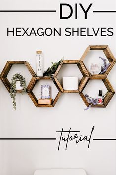 Build these DIY hexagon shelves (aka honeycomb shelves) in less than an hour. This is a simple DIY tutorial that anyone can do. Add storage and style to your space on a budget! made simple diy projects crafts Diy Furniture Tutorials, Diy Furniture Plans, Diy Projects, Hexagon Shelves, Honeycomb Shelves, Diy Home Crafts, Easy Diy Crafts, Diy Crafts To Sell, Home Renovation
