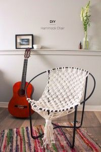 DIY Seating Ideas - DIY Macrame Hammock Chair - Creative Indoor Furniture, Chairs and Easy Seat Projects for Living Room, Bedroom, Dorm and Kids Room. Cheap Projects for those On A Budget. Diy Hammock, Hammock Chair, Hammock Ideas, Hammock Stand, Hanging Chair, Bedroom Hammock, Crochet Hammock, Indoor Hammock, Diy Crochet