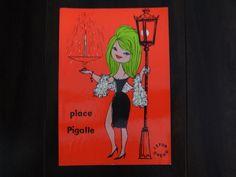 【place Pigalle 古いポストカード 1960年消印 イタリア】 LEFOR-OPENO ルフォール・オプノ