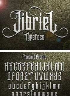 Jibriel Typeface Jibriel contains over 300 glyphs, with OpenType Features such as Standard Ligatures Tattoo Fonts Alphabet, Alphabet Symbols, Hand Lettering Alphabet, Script Lettering, Typography Fonts, Tattoo Lettering Design, Gothic Alphabet, Graffiti Words, Vintage Typography
