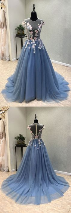 Blue round neck tulle lace applique long prom dress, lace evening dress, blue tulle formal dress