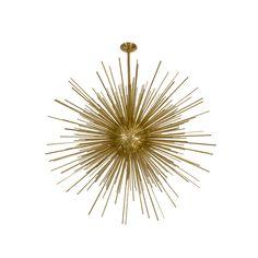 Monumental brass sputnik form chandelier.