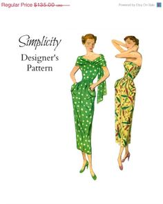 SALE Vintage 1940s Simplicity Designer's Pattern 8108 Misses Strapless Cocktail Dress with Stole Sewing Pattern Size 12 Bust 30