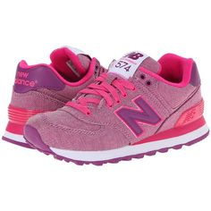 New Balance Classics WL574 - Glitch Women's Shoes, Pink (€45) ❤ liked on Polyvore featuring shoes, athletic shoes, pink, pink athletic shoes, traction shoes, cushioned shoes, synthetic shoes and laced shoes