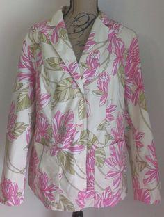 Tommy Hilfiger Stretch Plus Spring Floral Blazer Jacket Coat Sz 16W Yellow Pink #TommyHilfiger #Blazer