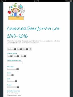 Exploring School Counseling: Creating a Counselor Activity Log with Google Forms