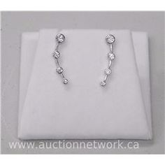 Ladies .925 Sterling silver 4 Tier Earrings all Channel Set with CZ. - Auction Network