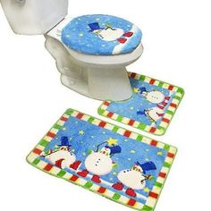 Be sure every room in the house is decorated, LOL! New 3pcs Snowman Bath Mat Contour Set, Christmas Bath Rug