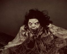A creepy halloween mask and a ripped up night gown make this prop truely scary.