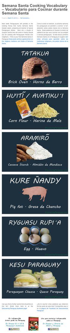 Semana Santa Cooking Vocabulary  | Vocabulario para Cocinar durante Semana Santa by Discovering #Paraguay Blog