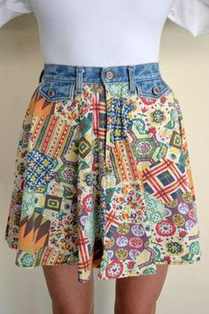 90er Jahrgang kurze Jeans und Baumwolle Rock von YellowWoodVintage