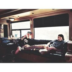 chillin' in the tour bus
