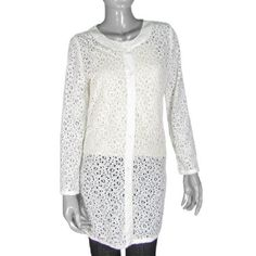 Allegra K Ladies Lace Style Long Sleeve Cardigan Outwear White XS Allegra K. $14.08