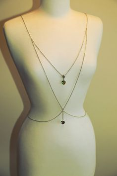 Swarovski Heart Body Chain in Sterling Silver .925 | Minimalist Jewelry | Handmade