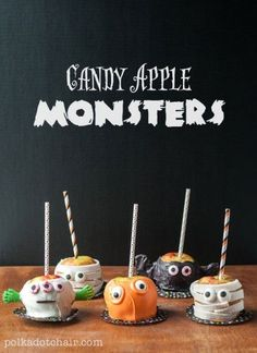 Candy Apple Monsters, - Caramel Apple Decorating Ideas