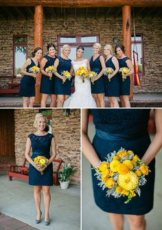navy blue bridesmaid dresses with gray shoes