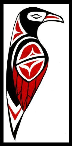 Yetl/Taqlikic is the Tlingit name for Raven the trickster. He was said to have brought water to earth. Freed the sun moon and stars created Dog death introduced hunting and meat eating created whale oil convinced the old sea woman to use tides ect Inuit Kunst, Art Inuit, Arte Haida, Haida Art, Arte Tribal, Tribal Art, Native Art, Native American Art, Tatouage Haida