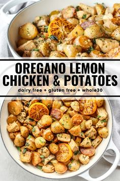 Gluten free meals 536772849340189321 - Chicken and potatoes sauté together in this easy skillet meal. Fresh oregano, lemon, and garlic flavor every bite! And it's all dairy free, gluten free, and compliant. Source by thewholecook Gluten Free Recipes For Dinner, Gf Recipes, Whole Food Recipes, Cooking Recipes, Healthy Recipes, Easy Yummy Recipes, Gluten Free Dinners, Whole 30 Chicken Recipes, Recipies