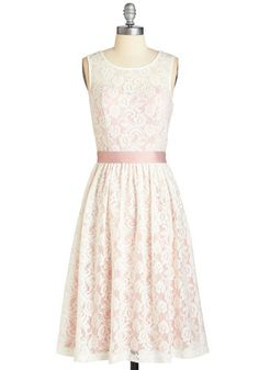 Lacy in Love Dress in Blush. Such a funny thing for you to try to explain - but this rosy-pink, ModCloth-exclusive frock just makes your heart swoon. #gold #prom #modcloth