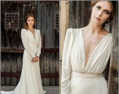 Long Sleeve Wedding Dress, Vintage Wedding Dress, Bridal Gown, off white wedding dress, simple wedding dress, bohemian wedding dress