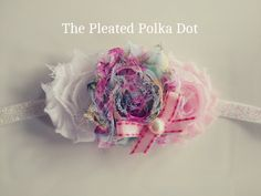 Floral, White and Light Pink Shabby Flowers by ThePleatedPolkaDot, $7.00