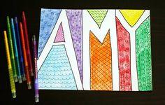 "doodle name art - ""Make Your Own Dorm Decoration"" Drawing Projects, Art Projects, School Projects, School Ideas, Doodle Name, Zen Doodle, Art For Kids, Crafts For Kids, Kids Fun"