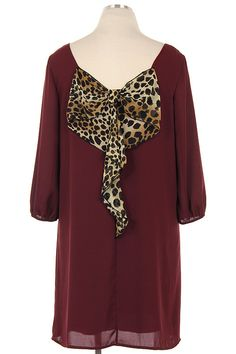 Blondellamy'Dean - Burgundy Leopard Bow Back Dress 2x, $59 (http://www.blondellamydean.com/burgundy-leopard-bow-back-dress-2x/)