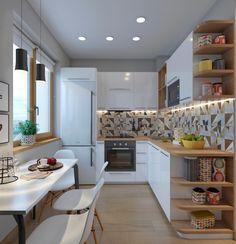 5 Modelos De Cozinhas – Cozinha em L geralmente é possível em uma cozinha ampla, onde aproveitamos duas paredes ortogonais para bancada e armários, e sobra uma boa área livre para mesa de refeições.