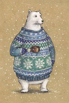Белый мишка в свитере и с кружкой