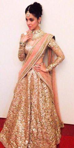 Gorgeous Gold Shimmer Net Bollywood Lehenga Choli Online