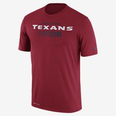 REPRESENT YOUR TEAM The Nike Legend All Football (NFL Texans) Men's T-Shirt features a color-blocked team graphic on lightweight, breathable fabric that wicks sweat from the skin. Benefits Dri-FIT fabric helps keep you dry and comfortable Rib crew neck with interior taping for comfort Product Details Fabric: Dri-FIT 100% polyester Machine wash Imported