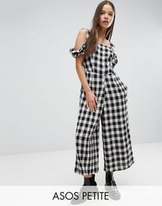 ASOS PETITE Jumpsuit in Gingham with Cold Shoulder Detail