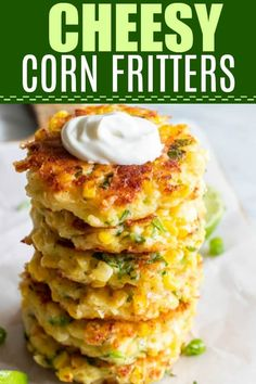 Cheesy Corn Fritters Loaded with Flavor! These easy to make fritters are loaded up with fresh corn, flavor, and most importantly cheese! Fried in a small amount of olive oil, these fritters are the perfect way to enjoy the flavors of summer! Mexican Food Recipes, Vegetarian Recipes, Cooking Recipes, Fresh Corn Recipes, Recipes With Jalapenos, Canned Corn Recipes, Curry Recipes, Veggie Dishes, Vegetable Recipes
