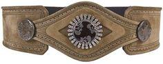 ShopStyle: Yves Saint Laurent Swarovski crsytal medallion suede belt