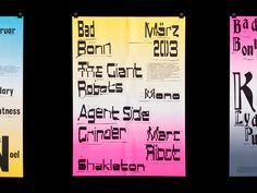 Concept for monthly programs of music venueBad Bonn, poster designed byATLAS(2013) –Type OnlyUnit Editions