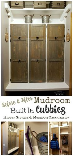 These mudroom built in cubbies have so much room for storage!      Hidden storage behind the doors, hooks on the front for easy hanging, and plenty of space for off-season clothing and household items.     #mudroom #farmhouse #mudroomcubbies #organization #entry #farmhousedecor #farmhousestyle #farmhousemudroom #homeimprovement #homedecor
