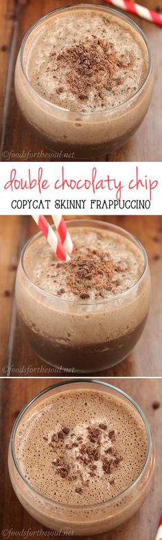 Skinny Double Chocolaty Chip Frappuccino -- a clean-eating Starbucks copycat for a fraction of the cost! Just 80 calories & 6g+ of protein!