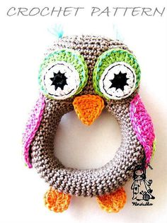 Owl crochet rattle