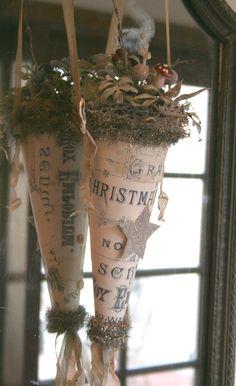 Christmas chic paper cones www.MadamPaloozaEmporium.com www.facebook.com/MadamPalooza