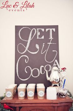 LOVE this! Let it COCOA! Hot chocolate bar at a Birch wood Winter Wonderland Party via KarasPartyIdeas.com