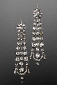 Georgian Old Mine Diamond Pendant Earrings, circa 1820s  A total of approximately 12.75 carats of old mine diamonds are set in silver top yellow gold mountings.
