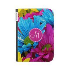 Monogram Hot Pink Teal Blue Gerber Daisies Flowers Kindle 3G Case