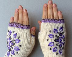These unique hand knitted accessory can be a wonderful accent to Your clothes :)  Gloves are: length: 18 cm (7,25 inches); circumference of the wrist: 18 cm (7). fiber composition: 60% wool, 40% acrylic.  This is my own design.  MADE TO ORDER  I recommend hand washing in lukewarm water and air drying.  This item was knitted in a Smoke-Free home.  Please contact me with any questions.  Thank you for visiting my shop :)