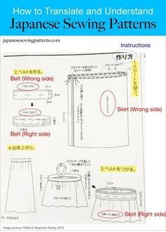 How to translate Japanese sewing pattern to English. Full tutorial at www.japanesesewingpatterns.com