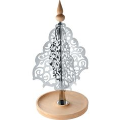 Alessi Table top stainless steel and wood christmas tree ($145) ❤ liked on Polyvore featuring home, home decor, holiday decorations, wood home decor, table top home decor, wooden home decor and alessi